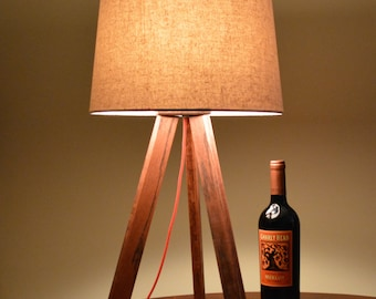 Modern Mid Century Inspired Red Oak Tripod Lamp & Shade