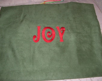 """Embroidered """"Joy"""" Pillowcase - Green with Red Thread"""