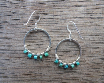 Earrings with real turquoise silver hoops