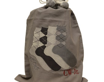 Zazendi Men's Monogrammed Sock Bag