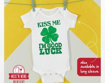 Kiss me I'm Good Luck St. Patricks Day, Baby, Onesie®, bodysuit, romper, under shirt