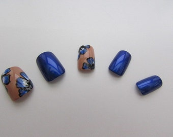 Blue Flower False Nail Set