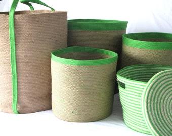 Green Handcrafted Jute Baskets