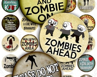 Digital collage ZOMBIES 1.5 inch circle apocalypse scary halloween walking dead magnet stickers pendant instant download printable - tn164