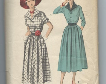 Advance 5493, Vintage 1950's  One Piece Dress with Button Front Bodice and Front Gathered Skirt