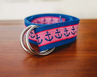 Nautical Adjustable Sailing Belt with Anchors - Blue and Pink - For Women