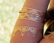 Boho Gold Metallic Bracelets, Trending Flash Tattoos, Jewelry Tattoos, Gold Boho Jewelry, Turkish Henna Bracelets