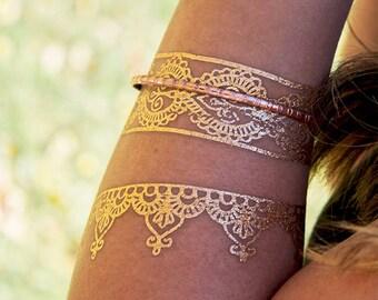 Boho Gold Metallic Bracelets, Trending Flash Tattoos, Jewelry Tattoos, Gold Boho Jewelry, Turkish Henna Bracelets