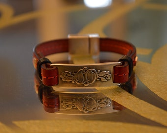Red leather bracelet magnetic clasp