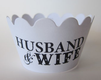 18 Husband & Wife Wedding Cupcake Wrappers