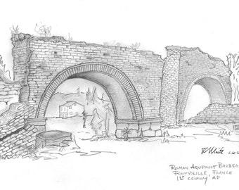 Roman Aqueduct at Barbegal, France.