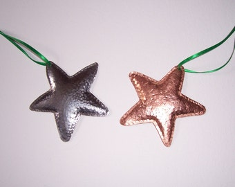 Hand made and beaten copper, brass or steel arts and crafts style star hangings