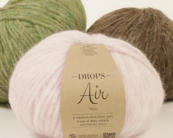 Garnstudio DROPS Design Air yarn 50g 70% Baby Alpaca 7 Extra fine merino 23 polyamide Light Weight Thick knitting wool
