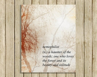 wall art printable quote definition Nemophilist nature forest printable instant download 8 x 10 print home decor