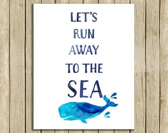 printable wall art Lets run away to the sea quote bathroom instant download 8 x 10 motivational beach typography print home decor