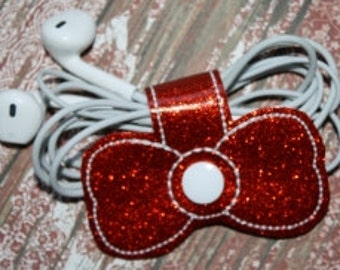 Bow Earbud/Charging Cord Wrap Machine Embroidery Design for the 4x4 hoop