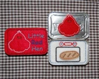 24 Hour Sale Price!   Little Red Hen Tin Set Embroidery Machine Design for the 4x4 hoop
