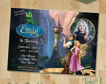 Tangled Princess Birthday Party - Photo Invitation - Digital File - Printable