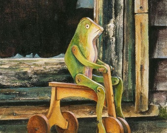 Frog Toy Note Card, Vintage Toy, Travel Note Card, Inch by Inch