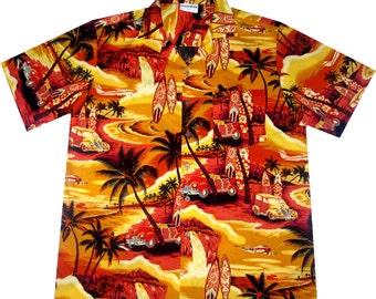 """hawaiian shirt """"Golden Summer"""" 100% cotton, size M - 3XL"""