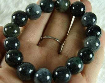 Handmade Black Chinese Natural Grade A Jade Jadeite Elastic Bead Bangle Bracelet B-162