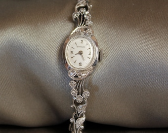Vintage Longines Wittnauer diamond encrusted ladies 14k solid white gold wrist watch REDUCED!