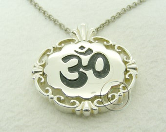 Sterling Silver Om Pendant with 16in Sterling silver chain