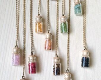 natural gemstone bottle necklace