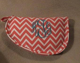 Coral color chevron pistol case - Monogrammed Gun Case - Personalized gun case