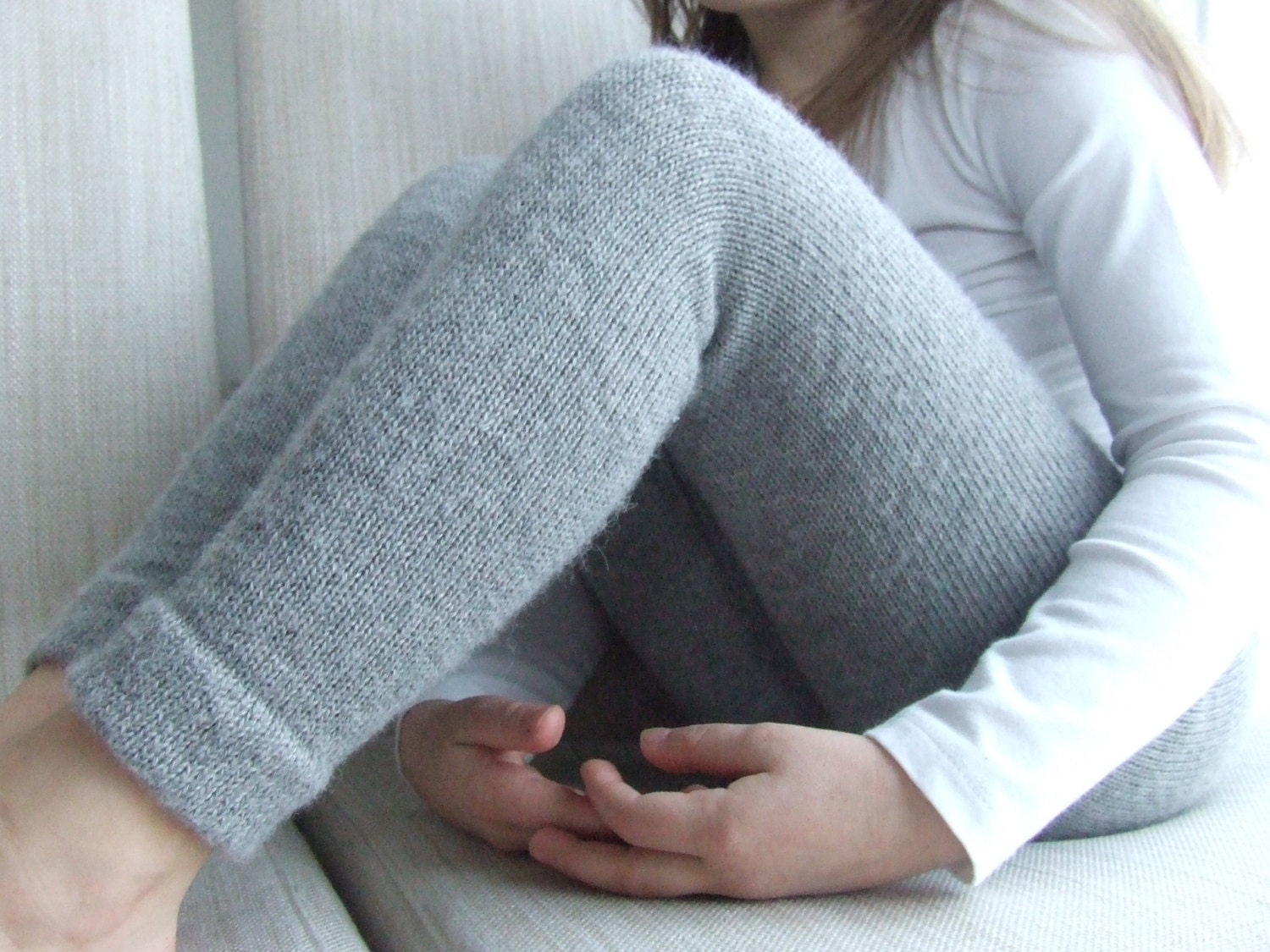 Knitting Pattern For Toddler Leggings : Baby Alpaca knit gray pants/knitted children leggings/kids