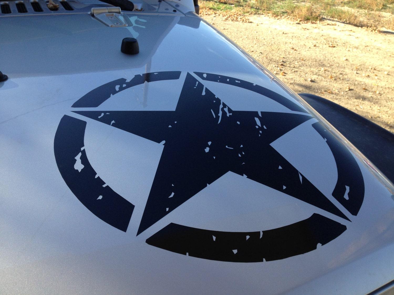 jeep wrangler hood decal oscar mike distressed army star
