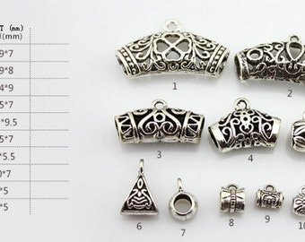 DIY Handmade Jewelry  Accessories10 items Tibetan Silver bracelets and necklaces hanging pendant tube charms--Quantity and style Free Choice