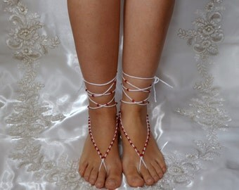 Cotton Crochet White Sandals with Red Beads, Barefoot Sandals,Wedding, Yoga, Bellydance, Lace shoes, Beach, Bridal accessories, Nude shoes