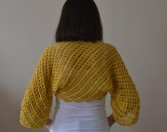 Cotton Hand Knit Mustard Yellow Bolero, Mustard Yellow Wrap, Lace Bolero, Lace Wrap, Shrug, Cotton Wrap, Bridal Bolero Jacket, Wedding Shrug