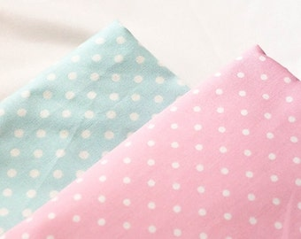 Polka dot cotton fabric Pink & Light blue, sweet color of 100% Cotton Fabric