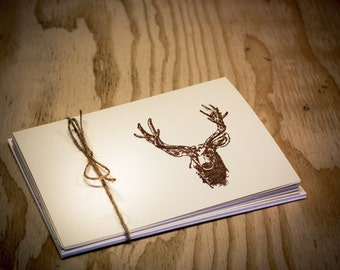 Blank Cards Deer Folded Simple Masculine Set of 5 hand stamped teacher gift card with envelope hunter trophy