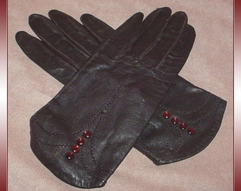 Vintage Leather Dress Gloves with Button Trim