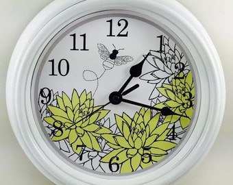 Yellow CHRYSANTHEMUM Buzzing BEE Wall Clock