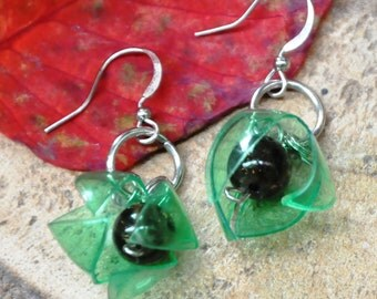 Green Flower buds, Upcycled earrings, recycled earrings