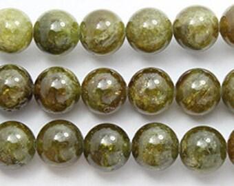 green garnet 10mm round beads 8 inch strand