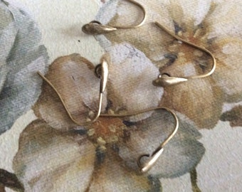 Antique brass teardrop earring wires 6 pairs