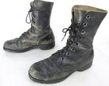 Mens Vintage Addison Ro-Search Black Leather Mid Calf Lace Up Militarty Combat Tactical Composite Toe 4-69 Vietnam Sz 6 W