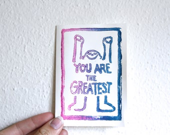 """Hand stamped """"You are the Greatest"""" card"""