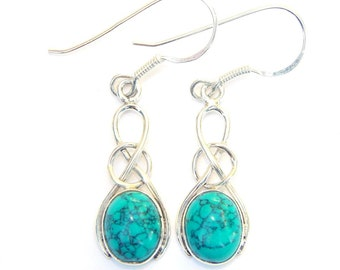 Beautiful Turquoise Sterling Silver Oval Knot Earrings