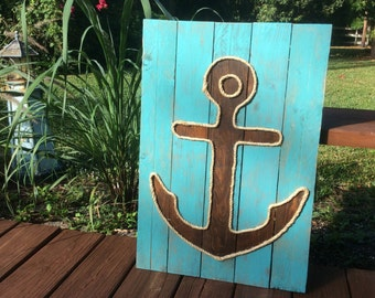 Handmade Anchor with Rope Beach Pallet Art Coastal Decor Rope Art Anchor Art