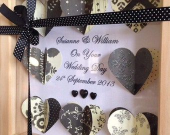 Personalised 3d hearts box frame. Ideal wedding or christening gift.