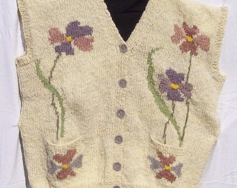 Hand knitted Flowers  sleeveless jerkin