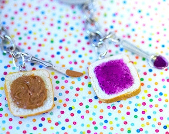 Miniature Cute BFF Peanut Butter Grape Jelly Keychain Set with knife and spoon- Best Friend Forever