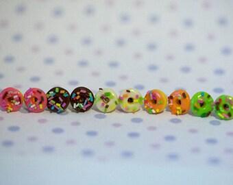 Miniature Food Earrings Sprinkle Donuts