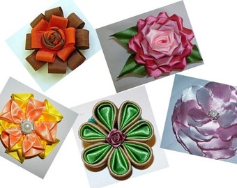 Fabric Flowers PDF tutorial_for flower pin, hair clip or brooch _ 5 different flowers tutorials!